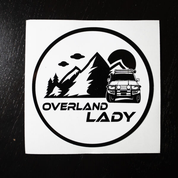 STICKER ROUND WHITE 1 | Overland Lady by Monique Song
