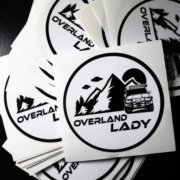 STICKER ROUND WHITE 2 | Overland Lady by Monique Song