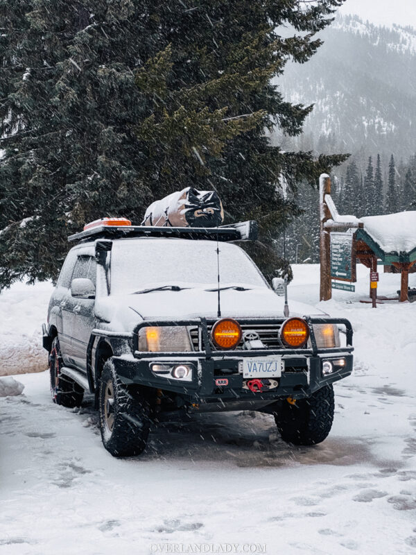 Snow Camp Landcruiser 100 series Rhino Rack 40 | Overland Lady by Monique Song