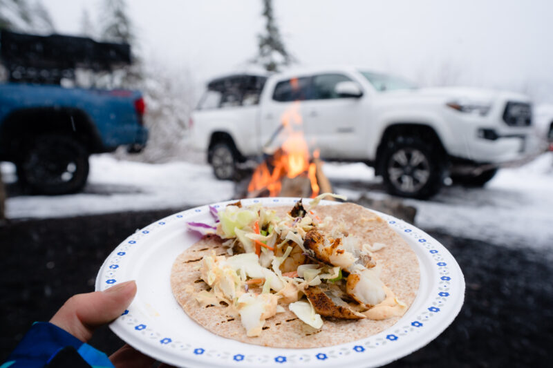 making fish taco with Toyota Tacoma in snow