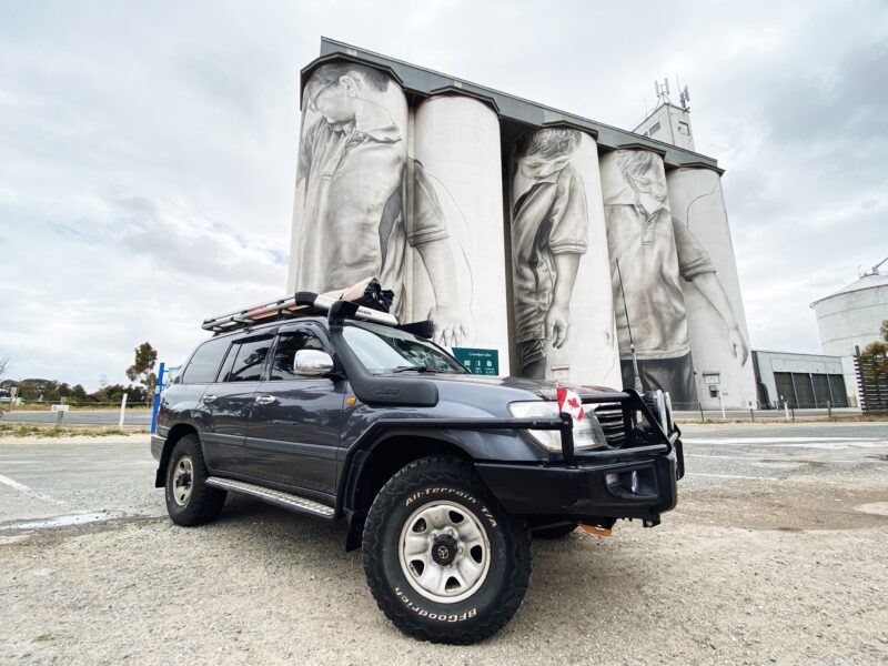 Coonalpyn silo art with Toyota Landcruiser 100 series