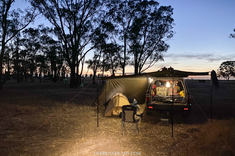 camping in Rhino Rack awning and arb swag in the Australian outback