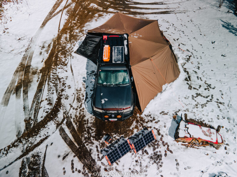 Solo Snowstorm Camping Jackery 1000 12 | Overland Lady by Monique Song